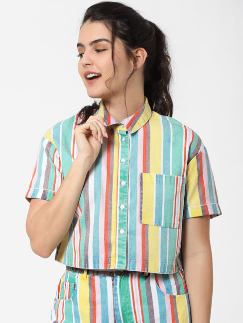 X MICKEY Multi-Colour Striped Cropped Shirt