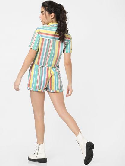 X MICKEY Multi-Colour Mid Rise Striped Shorts