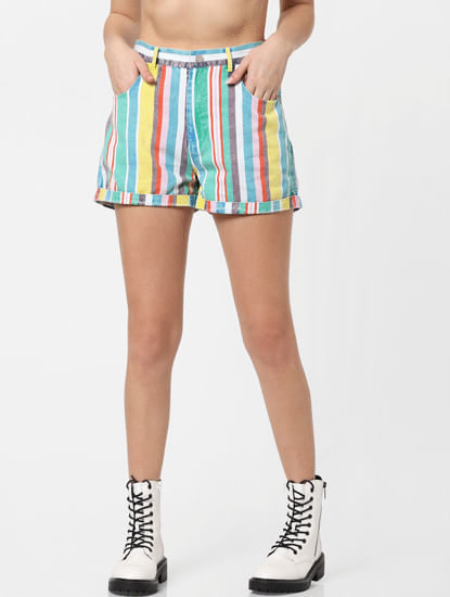 X MICKEY Multi-Colour Mid Rise Striped Shorts