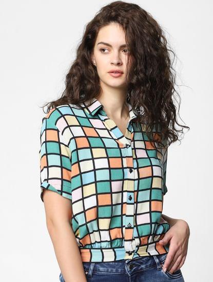 Multi-Colour Check Cropped Shirt