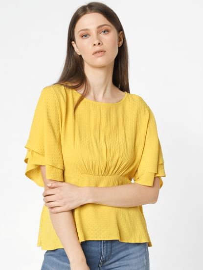Yellow Cinched Waist Top