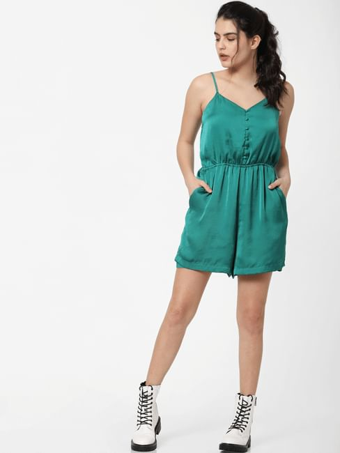 Green Satin Playsuit