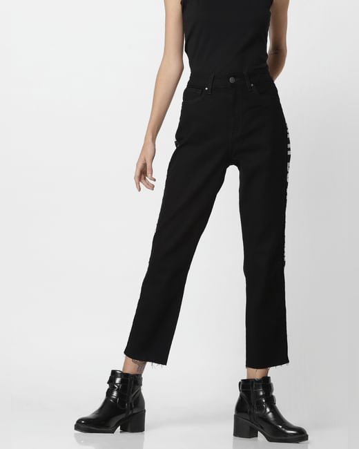 X Tokidoki Black Mid Rise Tape Detail Straight Fit Jeans