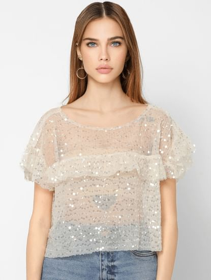 Beige Sequinned Cropped Top