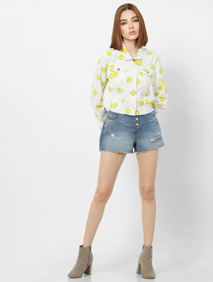 X SMILEY White All Over Print Denim Jacket
