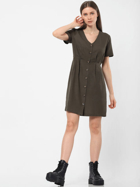 Olive Buttoned Sheath Dress