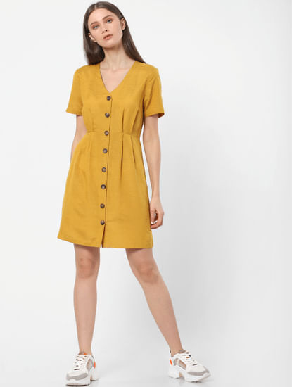 Mustard Buttoned Sheath Dress
