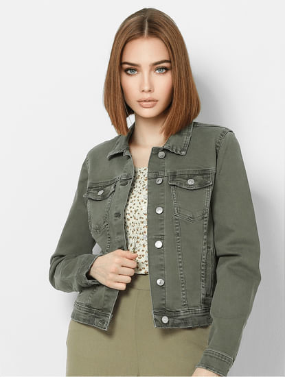 Green Washed Denim Jacket