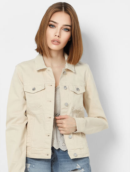 Beige Washed Denim Jacket