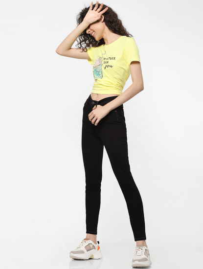 Yellow Embellished Graphic Print T-shirt