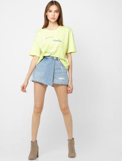 Green Text Print Loose Fit T-shirt
