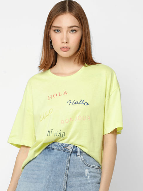 Green Text Print Loose Fit T-shirt