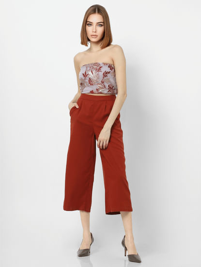 Rust High Rise Slip-On Culottes