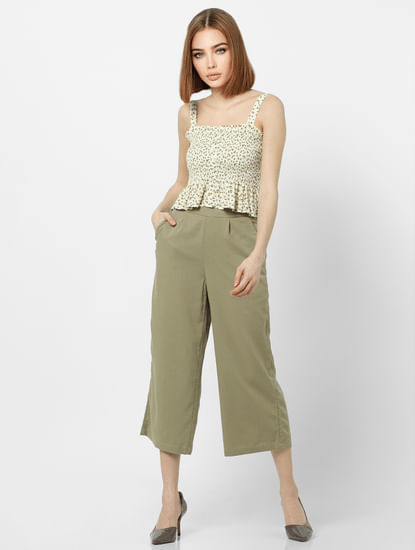 Green High Rise Slip-On Culottes