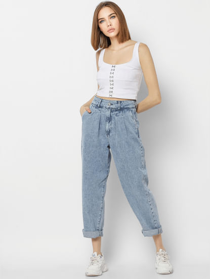 Blue High Rise Washed Carrot Fit Jeans