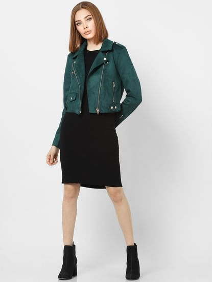 Green Zipped Cropped Biker Jacket