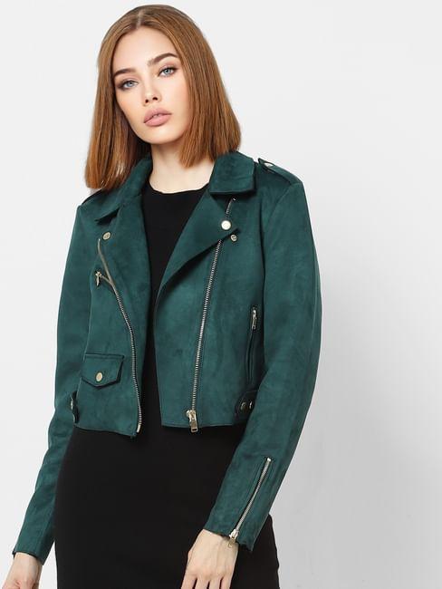 Green Zipped Cropped Biker Jacket