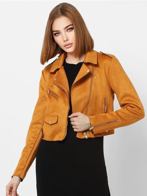 Orange Zipped Cropped Biker Jacket