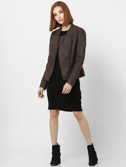 Brown Slant Front Opening Biker Jacket
