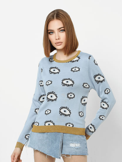Blue All Over Print Pullover