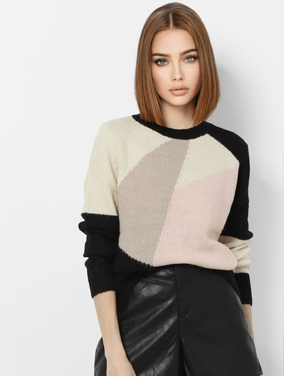 Black Colourblocked Raglan Sleeve Pullover