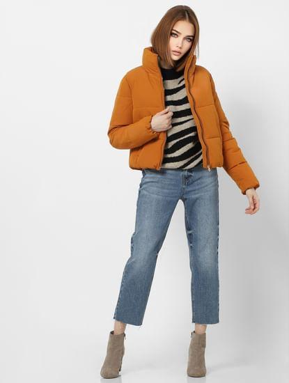 Orange High Neck Short Puffer Jacket