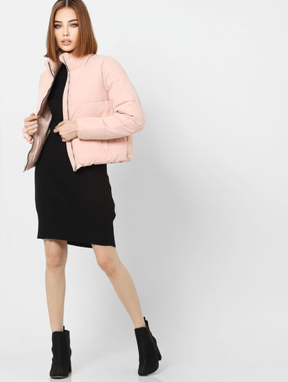 Pink High Neck Short Puffer Jacket