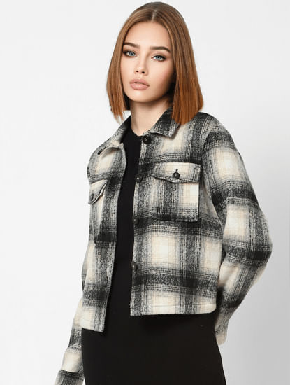 Beige Check Print Casual Jacket