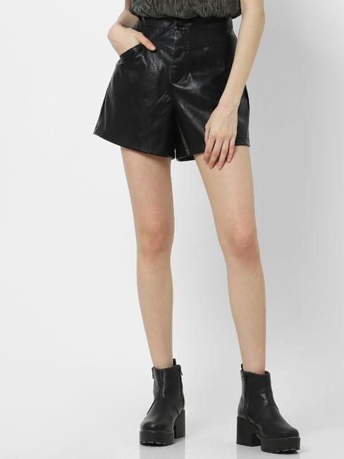 Black High Rise PPU Shorts