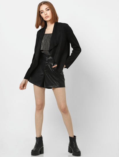 Black Shawl Collar Raw Edge Jacket