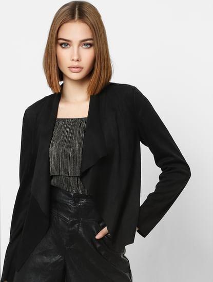 Black Shawl Collar Raw Edge Jacket