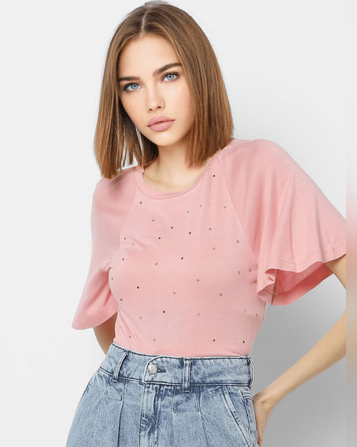 Pink Embellished Detail Top