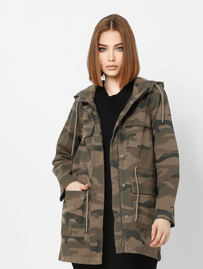 Green Camo Print Long Parka Jacket