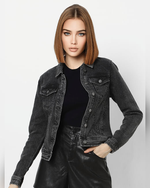 Grey Panel Detailing Denim Jacket