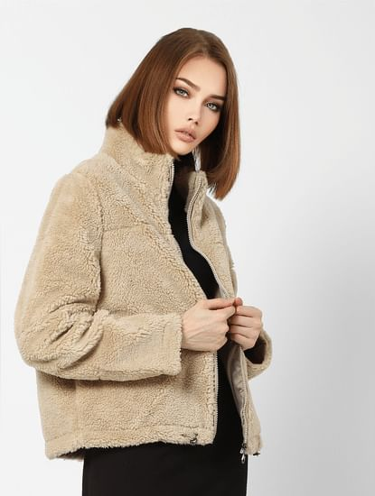 Beige High Neck Teddy Jacket