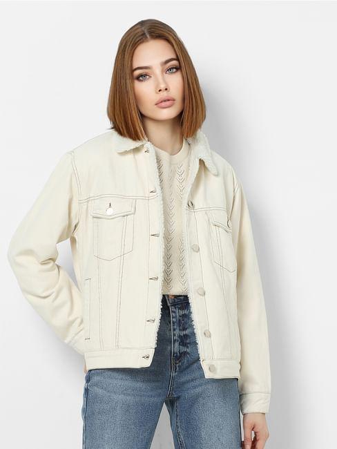 Off-white Faux Fur Detailing Denim Jacket