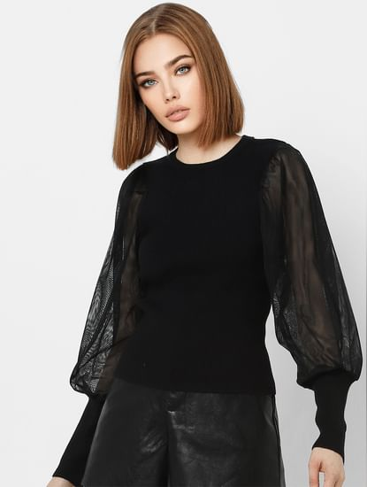 Black Organza Sleeves Pullover