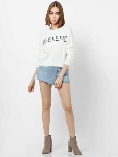 White Weekend Text Print Pullover