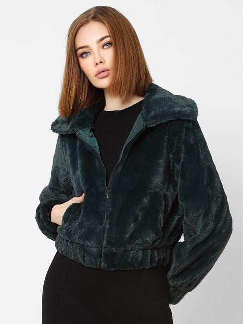 Green Faux Fur Cropped Jacket