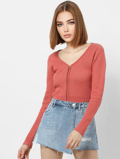 Pink Front Zipped Cropped Cardigan