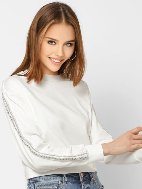 White Embellished Tape Detail Sweatshirt