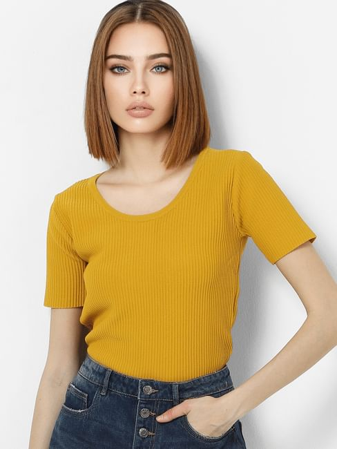 Yellow Ribbed Top