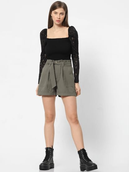 Green High Rise Belted Shorts