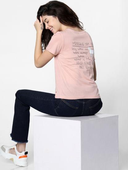 Pink Cat Graphic Print T-shirt