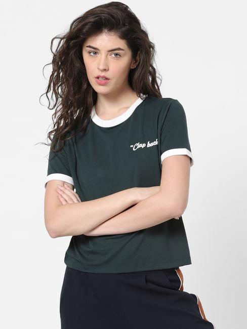 Green Contrast Tipping T-shirt