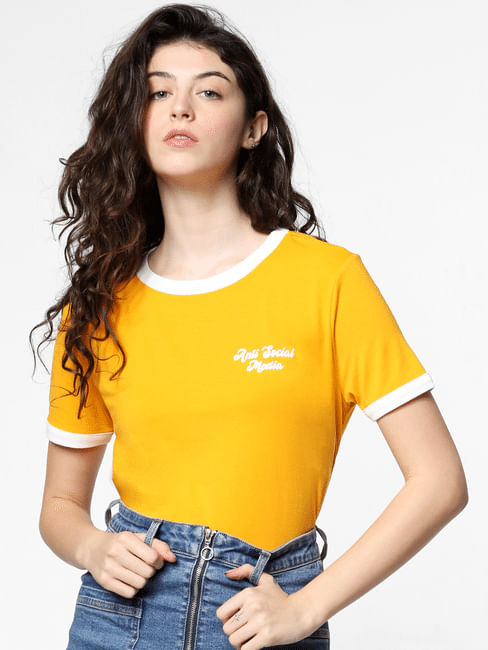 Yellow Contrast Tipping T-shirt