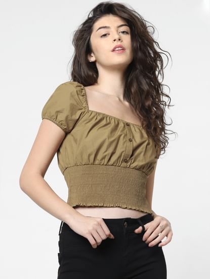 Green Smock Cropped Top