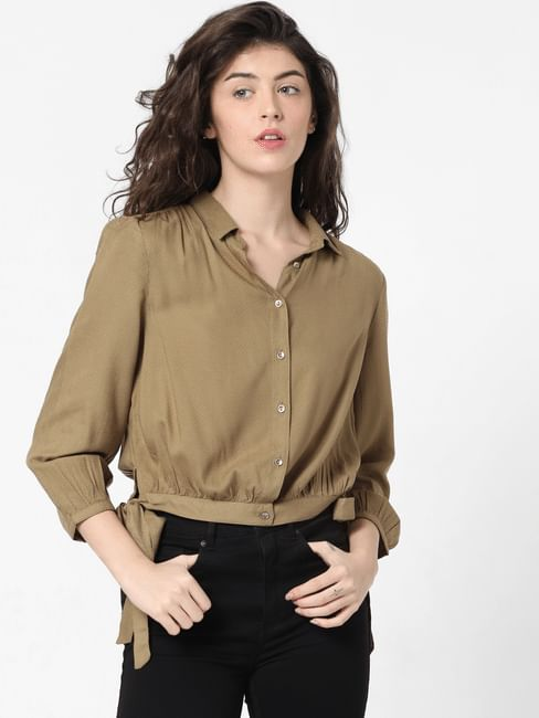 Green Side Tie-Up Shirt