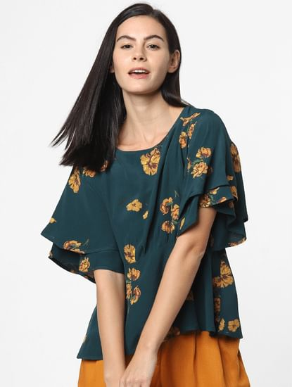Green Floral Print Layered Top