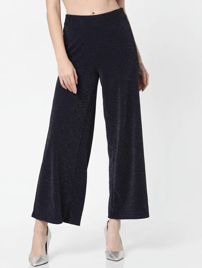 Navy Blue High Rise Shimmer Flared Pants